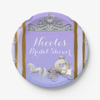 Purple Gold Princess Crown Carriage Sweet 16 Party Paper Plate