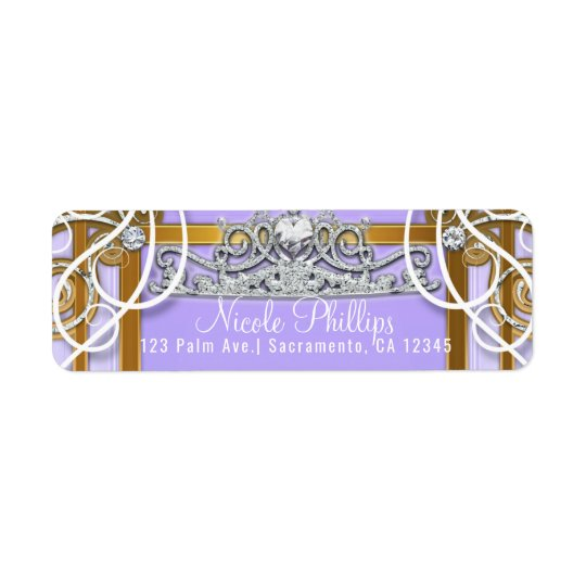 Purple Gold Princess Crown Carriage Sweet 16 Party Return Address Label