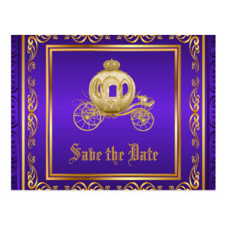 Purple Gold Royal Carriage Save the Date Postcard