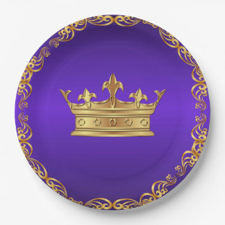 Purple Gold Royal Crown 9 Inch Paper Plate
