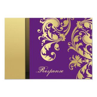 Purple & Gold Shimmer Floral Wedding Response RSVP 9 Cm X 13 Cm Invitation Card