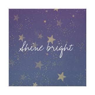 Purple Gold Stars Confetti Canvas Print