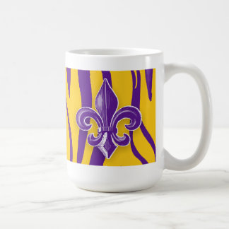 Purple & Gold Tiger Stripe with Fleur de Lis Coffee Mug