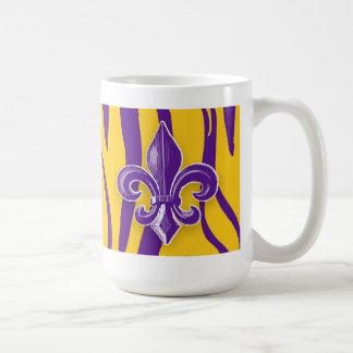 Purple & Gold Tiger Stripe with Fleur de Lis Mugs