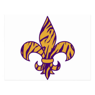 Purple & Gold Tiger Striped Fleur de Lis Postcard
