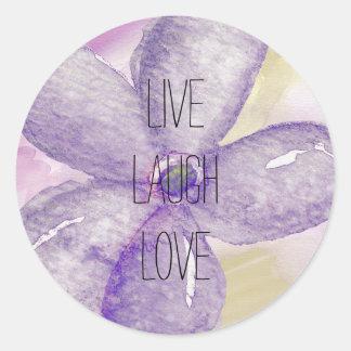 Purple Gold Watercolor Dream flower Classic Round Sticker