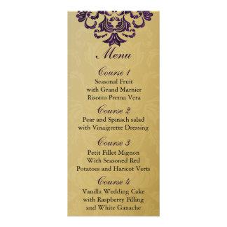purple  gold Wedding menu Full Colour Rack Card