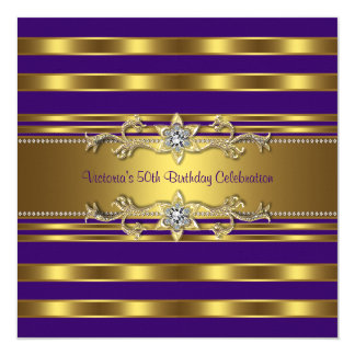 Purple Gold Womans 50th Birthday Party Card