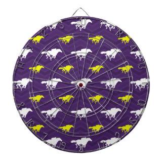Purple, Gold Yellow, White, Horse Racing Chevron Dartboard With Darts