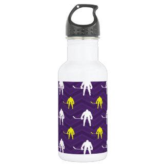 Purple, Gold Yellow, White, Ice Hockey, Chevron 532 Ml Water Bottle