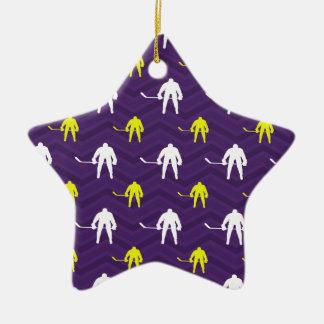 Purple, Gold Yellow, White, Ice Hockey, Chevron Ceramic Star Decoration