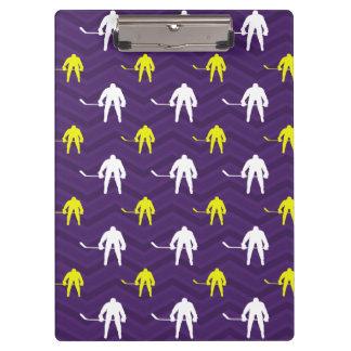 Purple, Gold Yellow, White, Ice Hockey, Chevron Clipboard