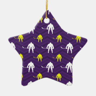 Purple, Gold Yellow, White, Ice Hockey, Chevron Christmas Tree Ornament