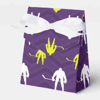 Purple, Gold Yellow, White, Ice Hockey, Chevron Favour Box