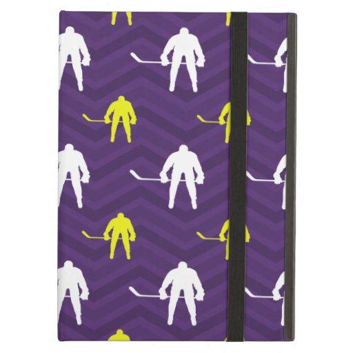 Purple, Gold Yellow, White, Ice Hockey, Chevron iPad Air Case