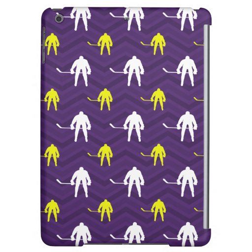 Purple, Gold Yellow, White, Ice Hockey, Chevron Cover For iPad Air