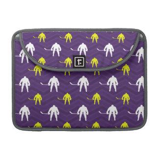 Purple, Gold Yellow, White, Ice Hockey, Chevron MacBook Pro Sleeve