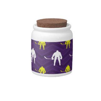 Purple, Gold Yellow, White, Ice Hockey, Chevron Candy Dishes