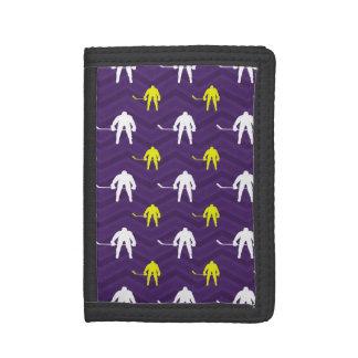 Purple, Gold Yellow, White, Ice Hockey, Chevron Tri-fold Wallet
