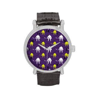 Purple, Gold Yellow, White, Ice Hockey, Chevron Wristwatches