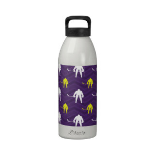 Purple, Gold Yellow, White, Ice Hockey, Chevron Drinking Bottle