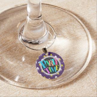 Purple, Gold Yellow, White, Ice Hockey, Chevron Wine Glass Charms