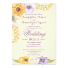 Purple Golden Floral Watercolor Wedding Invitation
