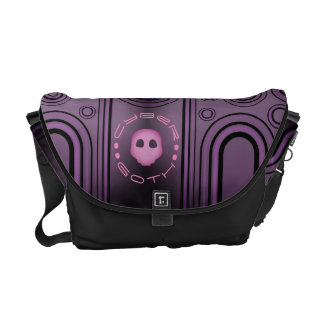 Purple Gothic Cyber Goth Linear Design Messenger Bag