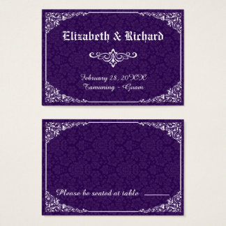 Purple Gothic Victorian Damask Wedding Place Card