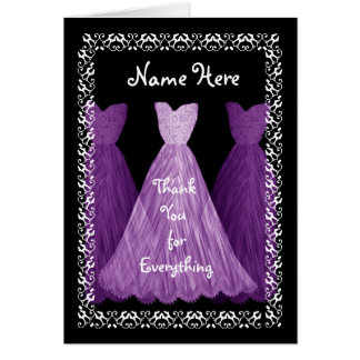 Purple Gowns MAID OF HONOUR Wedding Thank You V5 Card