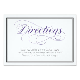 Purple Graceful Script Wedding Directions Card