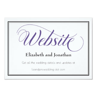 Purple Graceful Script Wedding Website Card