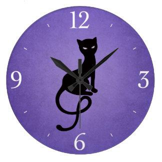 Purple Gracious Evil Black Cat Clock