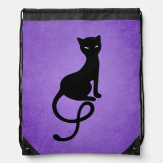 Purple Gracious Evil Black Cat Drawstring Bag