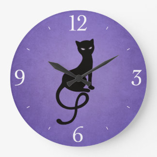 Purple Gracious Evil Black Cat Large Clock