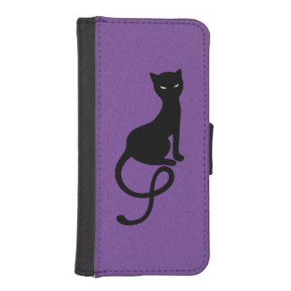 Purple Gracious Evil Black Cat Phone Wallet Cases