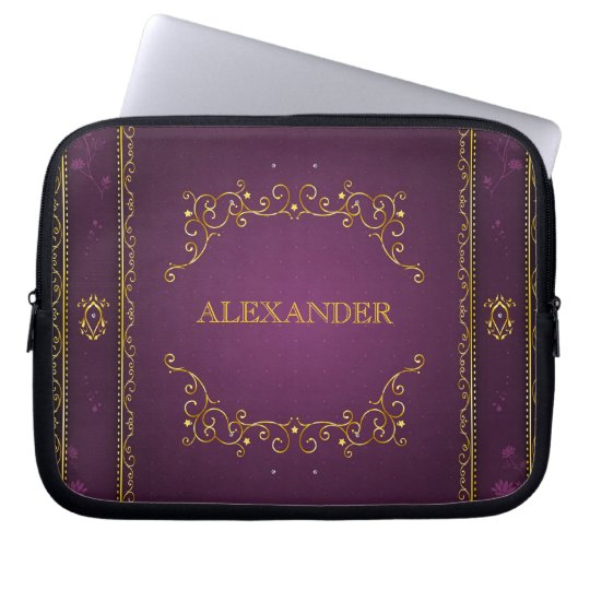 Purple Gradient+Gold Frame Accent-Monogram Laptop Sleeve