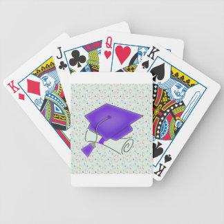 Purple Graduation Cap & Diploma, Colorful Diplomas Bicycle Playing Cards