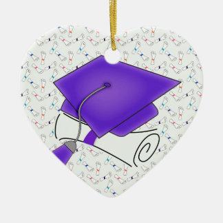 Purple Graduation Cap & Diploma, Colorful Diplomas Ceramic Heart Decoration