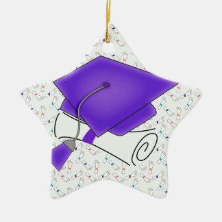 Purple Graduation Cap & Diploma, Colorful Diplomas Ceramic Star Decoration