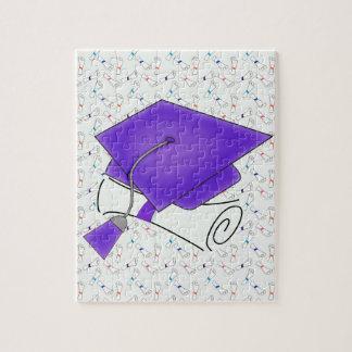 Purple Graduation Cap & Diploma, Colorful Diplomas Jigsaw Puzzle