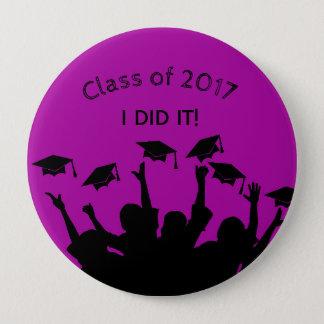 Purple Graduation Cap Gown Cap Toss Personalized 10 Cm Round Badge