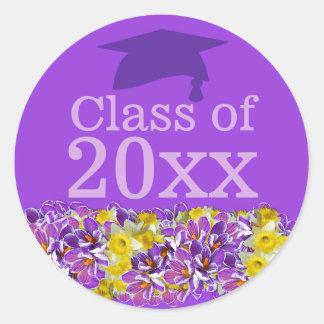 Purple Graduation Sticker w Spring Flowers