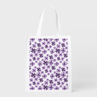 Purple Grape Lucky Shamrock Clover Reusable Grocery Bag