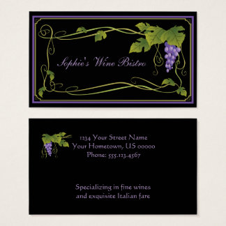 Purple Grapes Green Leaves Vines Border Business Card