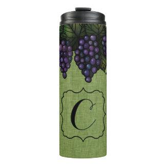 Purple Grapes, Monogram, Custom Thermal Tumbler