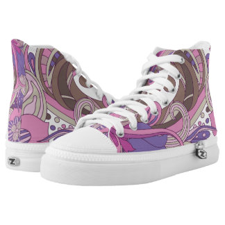 Purple Graphic Swirls High Tops