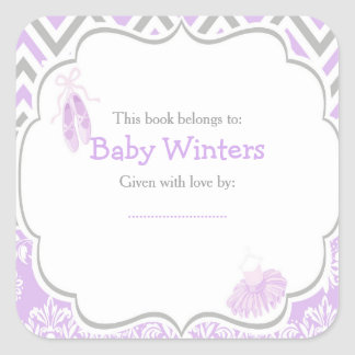 Purple & Gray Ballerina Baby Shower Bookplate Square Sticker