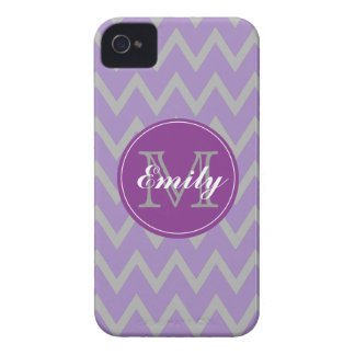 Purple & Gray Chevron Monogram iPhone 4/4s case
