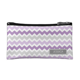 Purple Gray Chevrons Pattern Custom Name Bag Cosmetics Bags